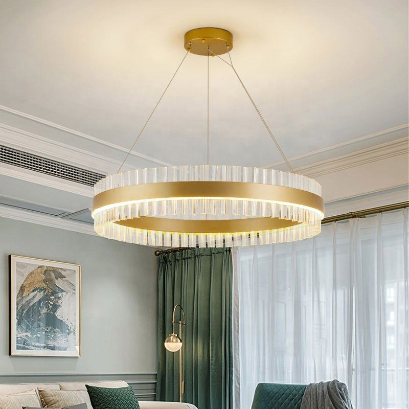Modern Crystal Hanging Brass Lighting Chandelier Metal Pendant Lamp