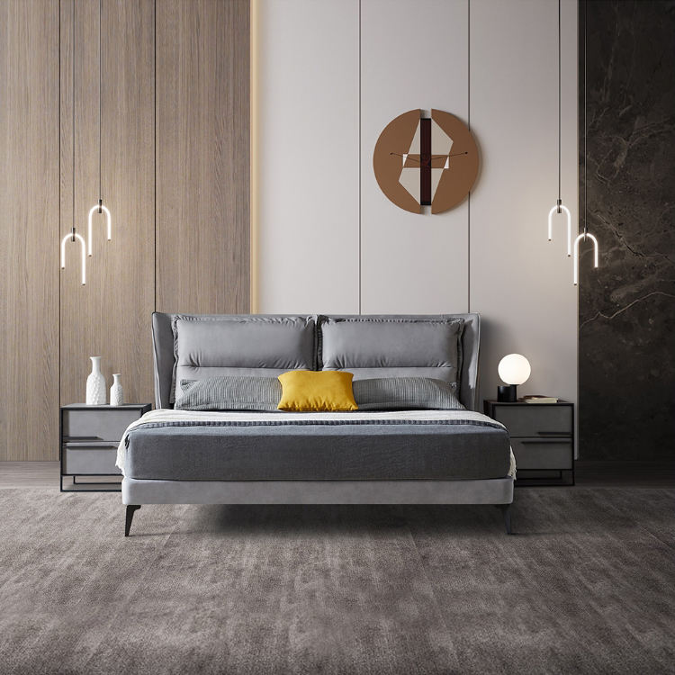 Modern bedroom furniture leather adult bed super single bed Italian upholstered headboard bed