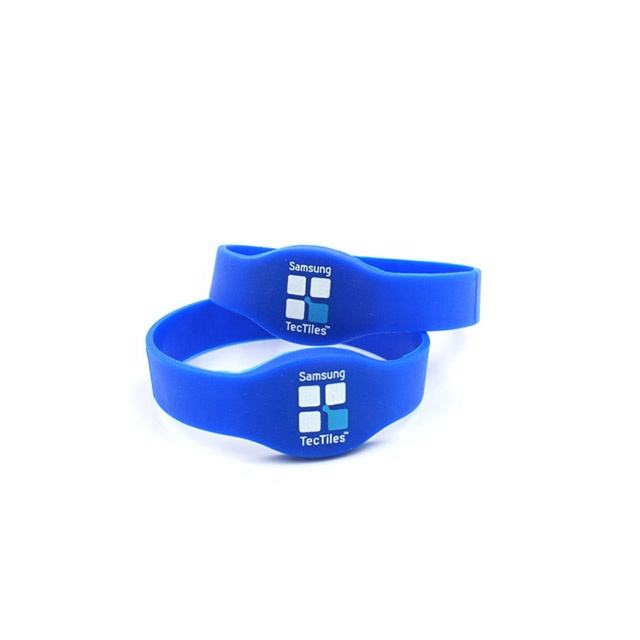 silicone rubber band with nfc rfid tag embossed or debossed print wristband