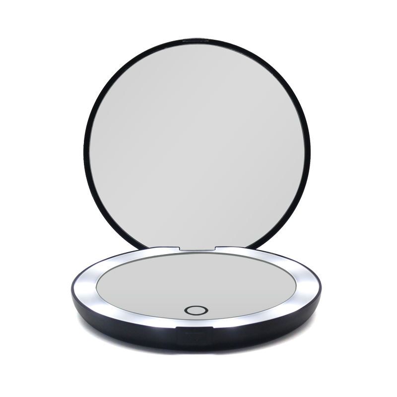 Low Price wholesale custom logo girls round compact pocket bag portable illuminated magnifying cosmetic mirror