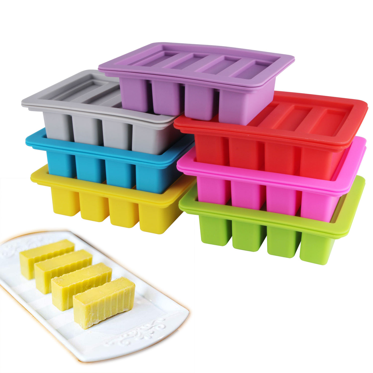 KUDA Custom Large 4 Cavities Silicone Butter Mold Rectangle Butter Pudding Soap Chocolate Ice Mould with Lid