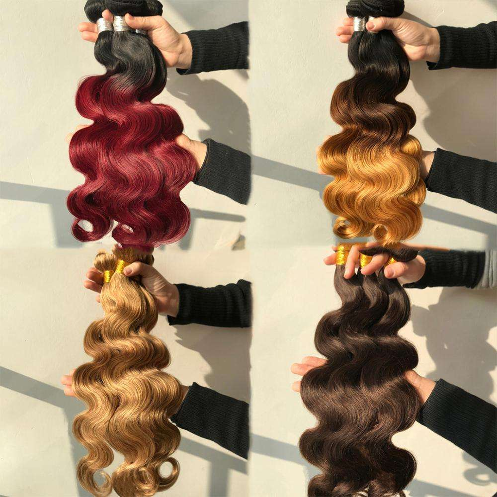 indian pure 100%human hair two tone colored ombre sew in wet and wavy weave bundle cheap guangzhou remy hair market