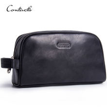 contact's dropship factory wholesale luxury hanging zipper pocket outdoor waterproof genuine leather men black cosmetic bag