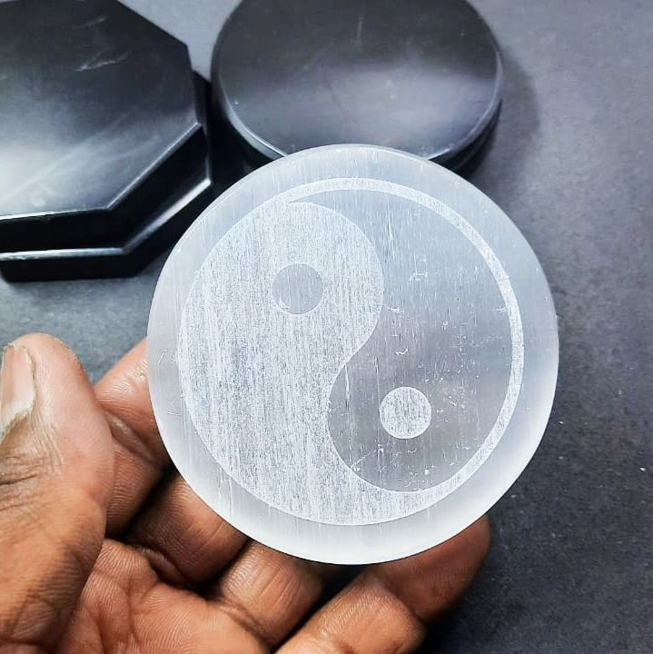 Selenite Charging Plate Engraved With Ying Yang Symbol: Selenite Coaster