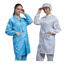 Cleanroom antistatic blue stripe garment Lab gown esd smock uniform working clothes