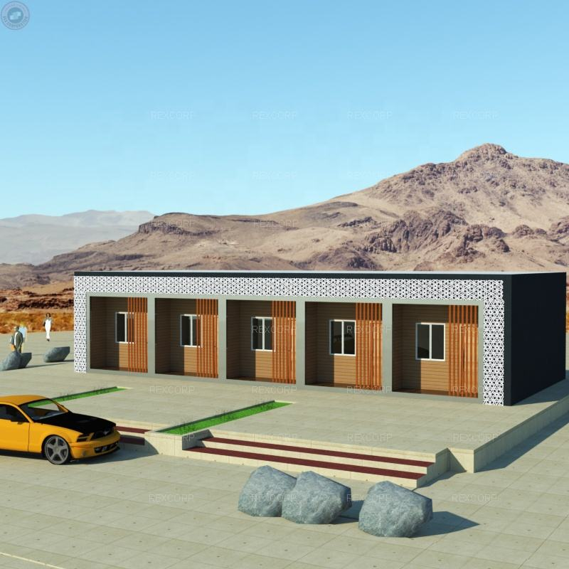 Flatpack Container Motel Hotel Rooms Prefab Lodge Guesthouse Building Architecture in United Arab Emirates