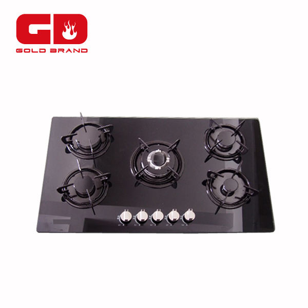 5 burner black tempered glass covers built-in gas hob