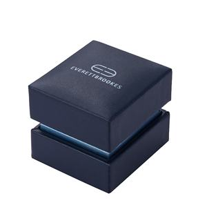 Luxe Premium Logo Foiled Hinged Small Flip Open Empaque Joyeria Earring Ring Box Black Leather Jewelry Boxes