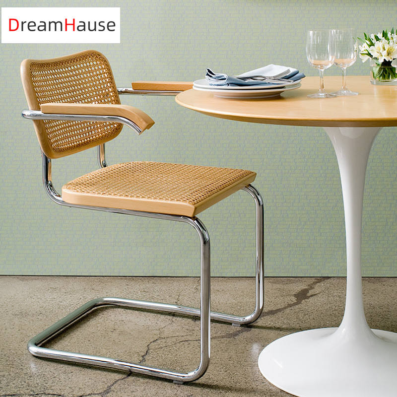 Dreamhause High Quality Nordic Korea Rattan Metal Wood Dining Chair Cafe Office Chair Balcony Study Armchair