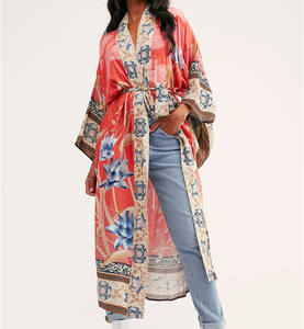 Boho Style Floral Print Long Kimono Women's Clothing Sashes Belt Holiday Gypsy Chic Bohemian Cover Ups Cape Robe Cotton
