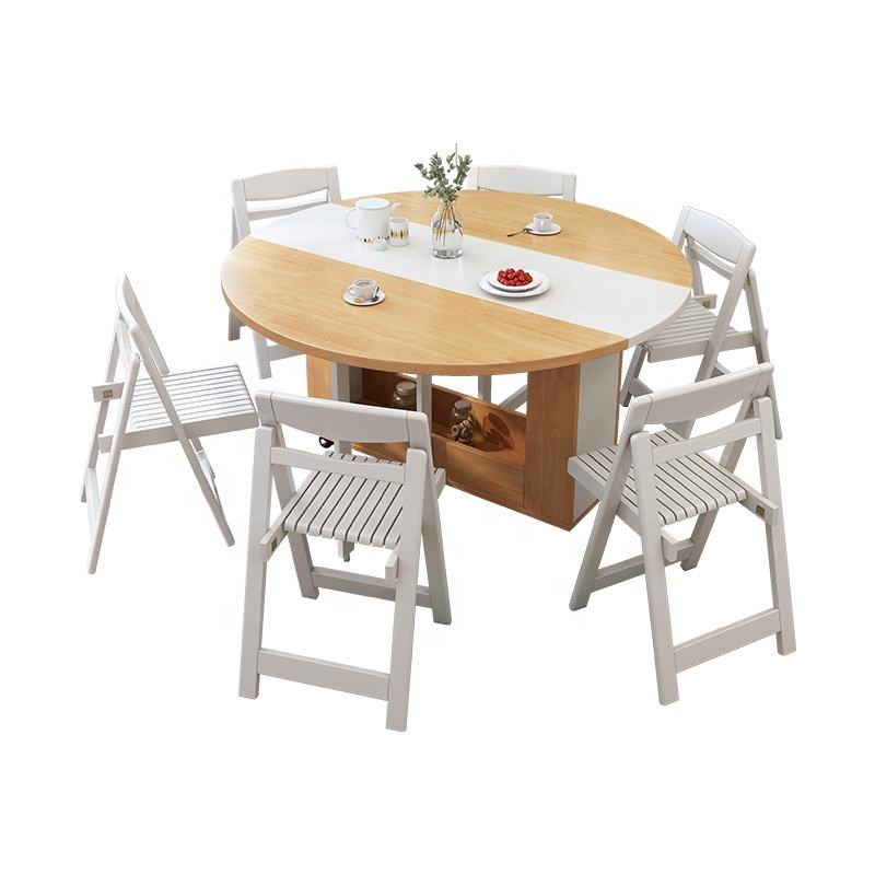Popular Item Modern Light Weight & Heavy Duty White Solid Wood Folding Dining Table Set