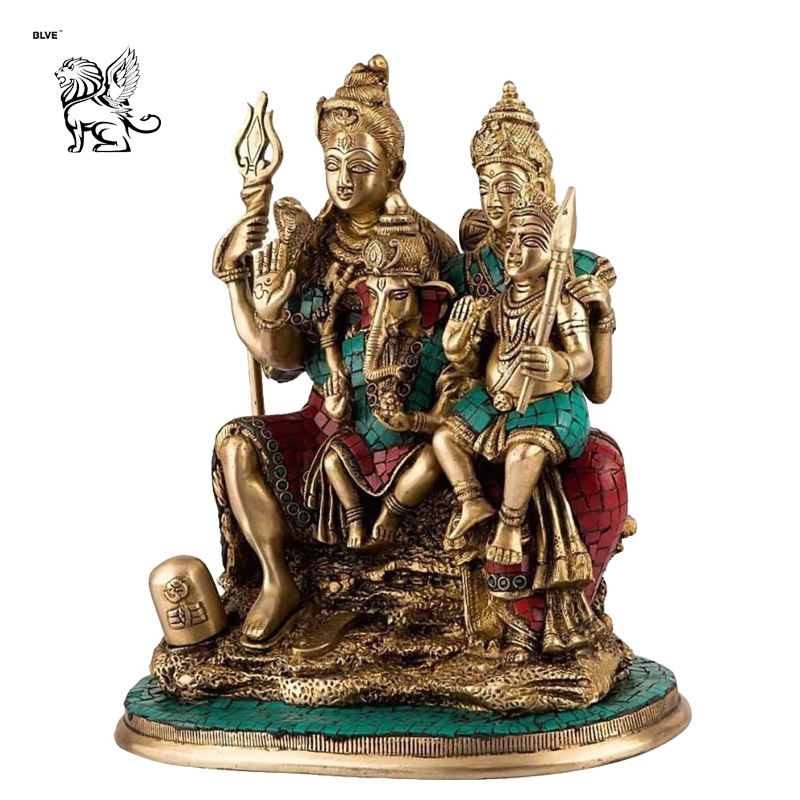 India religious Brass God Parvati Hindu Ganesh Ganesha Lord Shiv Figure sculpture bronze Hindu God Shiva family statue BSD-229