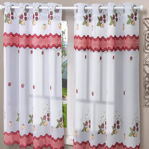 Best Price 100% Polyester Telas Para Cortinas Cocina Wholesales Kitchen Curtains Embroidery