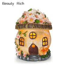 Polyresin/Resin Home Gnome Fairy House Solar Powered LED Outdoor Decor Garden Light