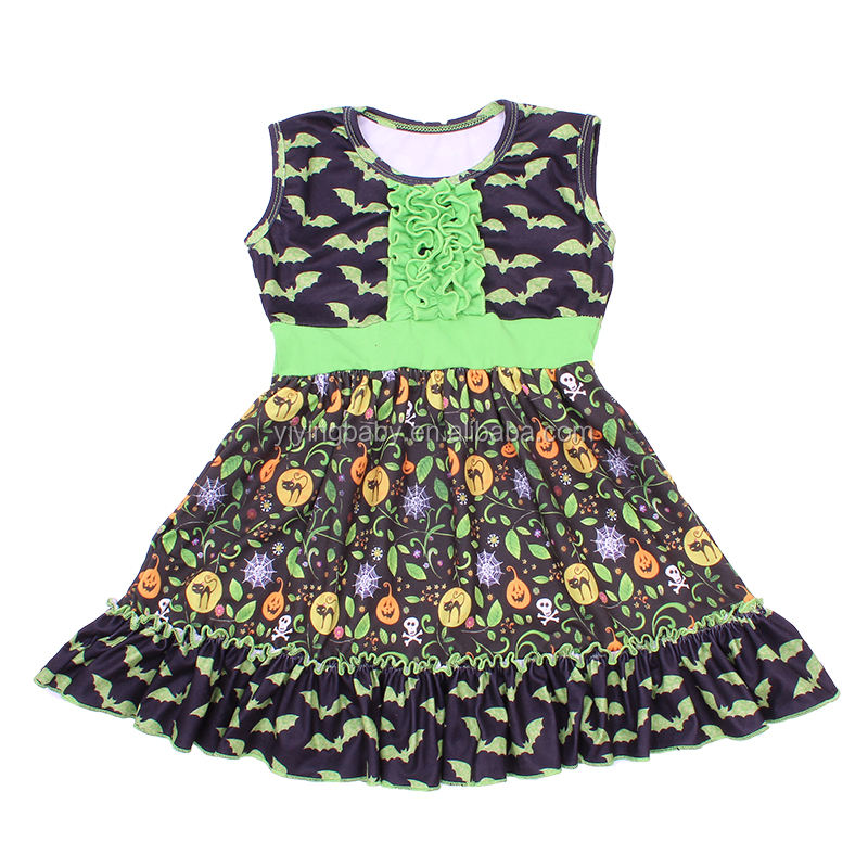 Cute Sleeveless Children Clothes Green Color Halloween Dress For 0-12 Years Girl Milk Silk Toddler Frocks Design Picture