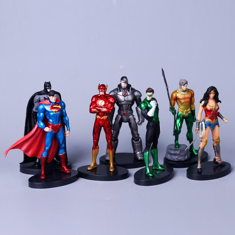 Anime Cartoon 7pcs/set 13-14cm DC Justice Heroes sets PVC Action Figure Toys for Kids' gift