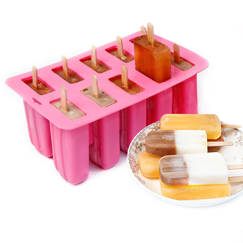 100% Food Grade BPA Free Silicone 10 Grid Ice Pop maker Mold Popsicle Mould