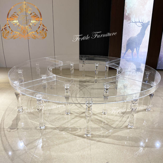 Luxury wedding crystal acrylic circle / s shape wedding table