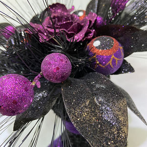 2020 new arrival purple shoes shaped party decoration halloween with glitter ornaments flower black leaf