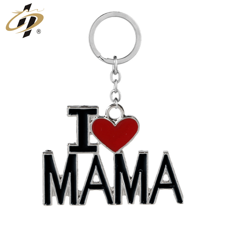 Wholesale cheap factory silver metal enamel custom keychain for Father's day