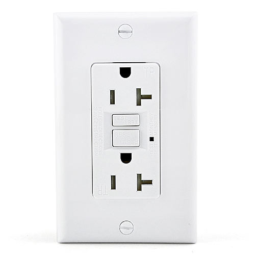 US American 2 Outlet <span class=keywords><strong>GFCI</strong></span> Wall Outlet Socket Receptacle 20Amp TR Tamper Resistant Outlet Self Test Socket mit Switch UL aufgeführt
