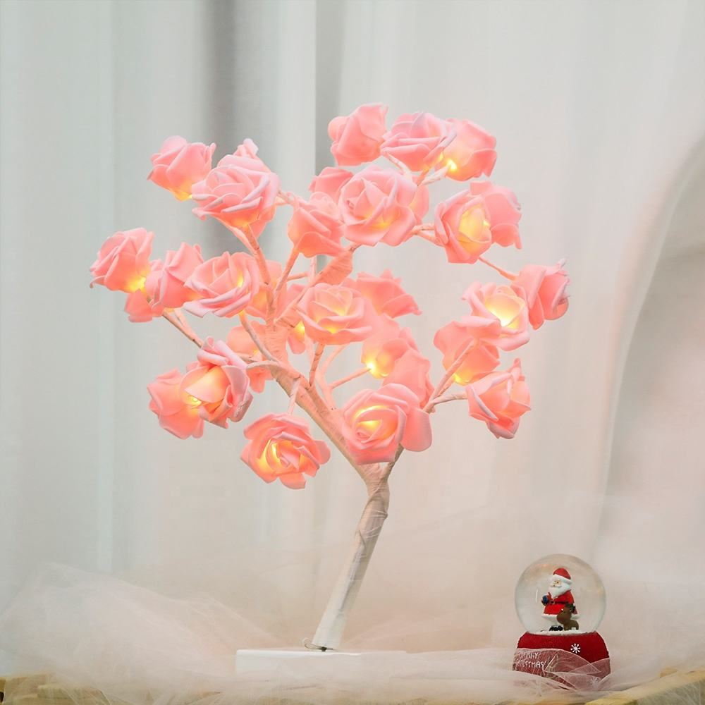 Bolylight 3*AA Battery 45Cm32L Pink Eva Rose Mini Led New Year Holiday Christmas Decoration Tree Light Lamp