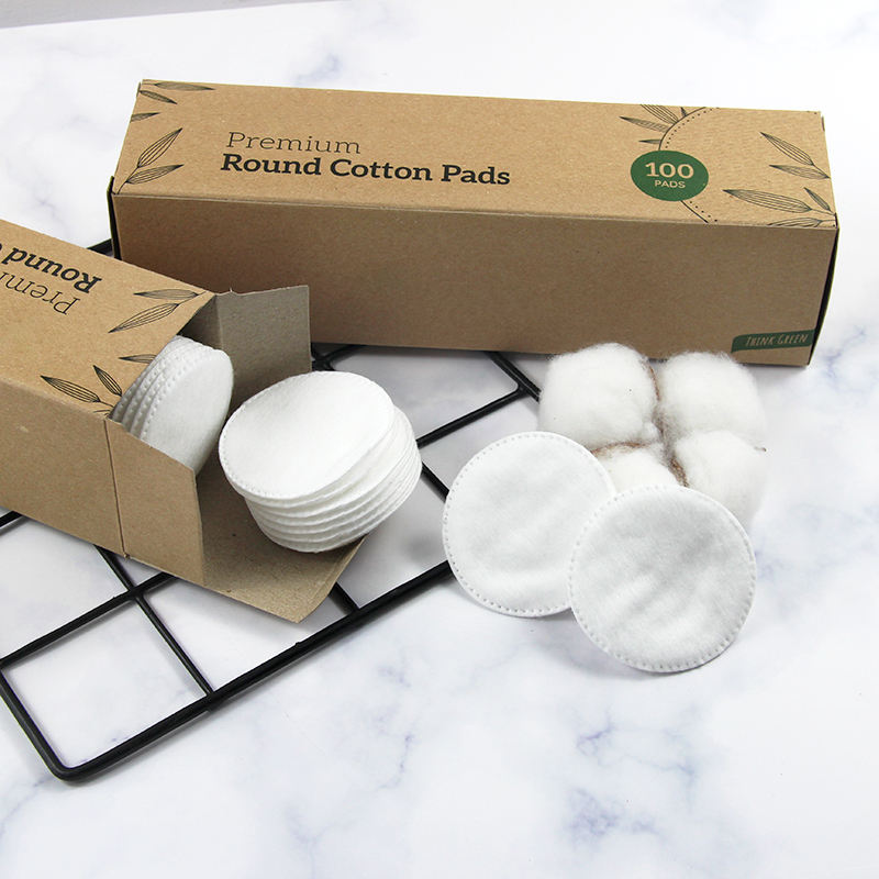 Eco-friendly organic round cotton pads facial makeup remover pads