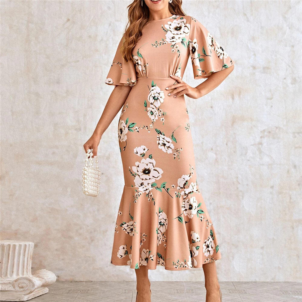 OEM Flutter Sleeve Fishtail Hem Floral Print Dress Casual Ladies Elegant Butterfly Sleeve Women Dresses Fashion Girls' Dresses