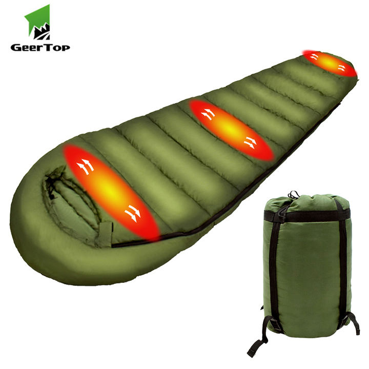 Geertop Outdoor Electric Battery Thermal Mummy Heated Sleeping Bag