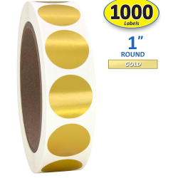 Wholesale Metallic Gold Round Color Coding Circle Dot Labels Roll Stickers