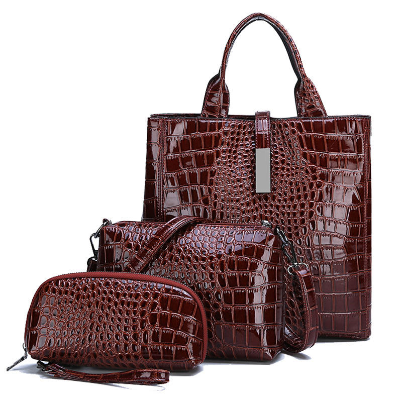 3 Pcs Set Bag Design Designer Hobo Ladies Hand Leather Women Wholesale Brand Crocodile Fashion Purses Handbags