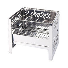 New outdoor mini stainless steel folding grill camping barbecue windshield firewood carbon oven fire rack