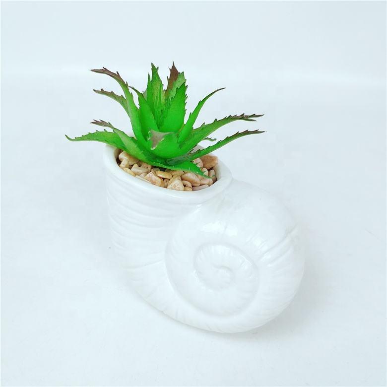 Jardín artesanía hecho a mano Animal Caracol de cerámica planta suculenta olla