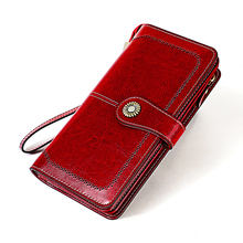 2019 Vintage Genuine Leather RFID Blocking Ladies Purse Minimalist Wrist Wallet Woman