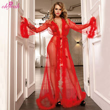 Three colors new design femme transparent long gown sexy lingerie