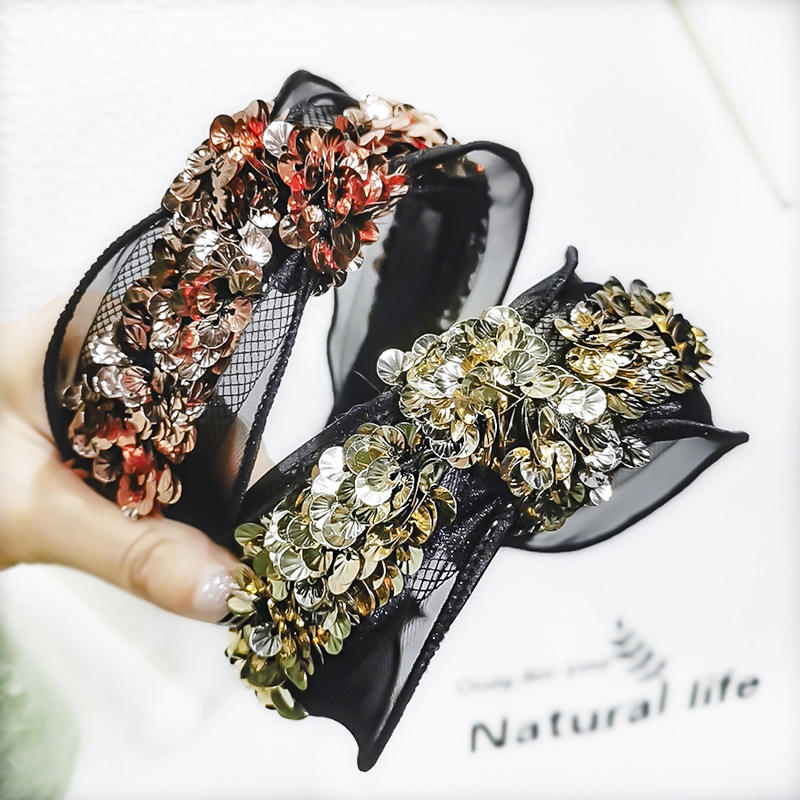 C762 Yiwu Busheng Color Changing Sequins Headband For Women Wholesale Bling Bling Mermaid Party Headband Hair Accessories Wid