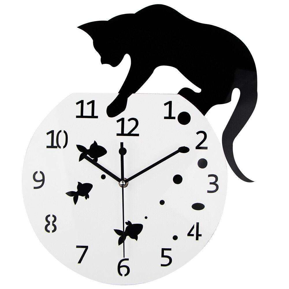Naughty Cat Acrylic Clock Wall Hanging Modern Clock Home Decor Watch Wall Sticker For Nordic Home Decoration Wall Clock