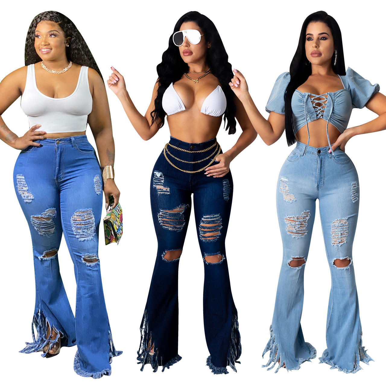 Ripped High Waist Women Flare Jeans Female Jeans Wide Casual Bell-Bottom Pants Skinny Wide Leg Trousers