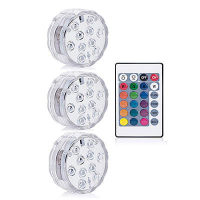 Underwater Waterproof Battery Operated Remote Control Wireless Multi Color 10 LED RGB Tub Swimming Pool Submersible LED Light