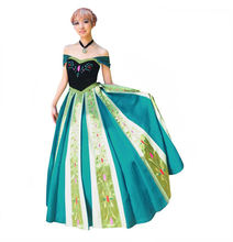 Custom Made  princess costume anna long dress for halloween party cosplay anna costume