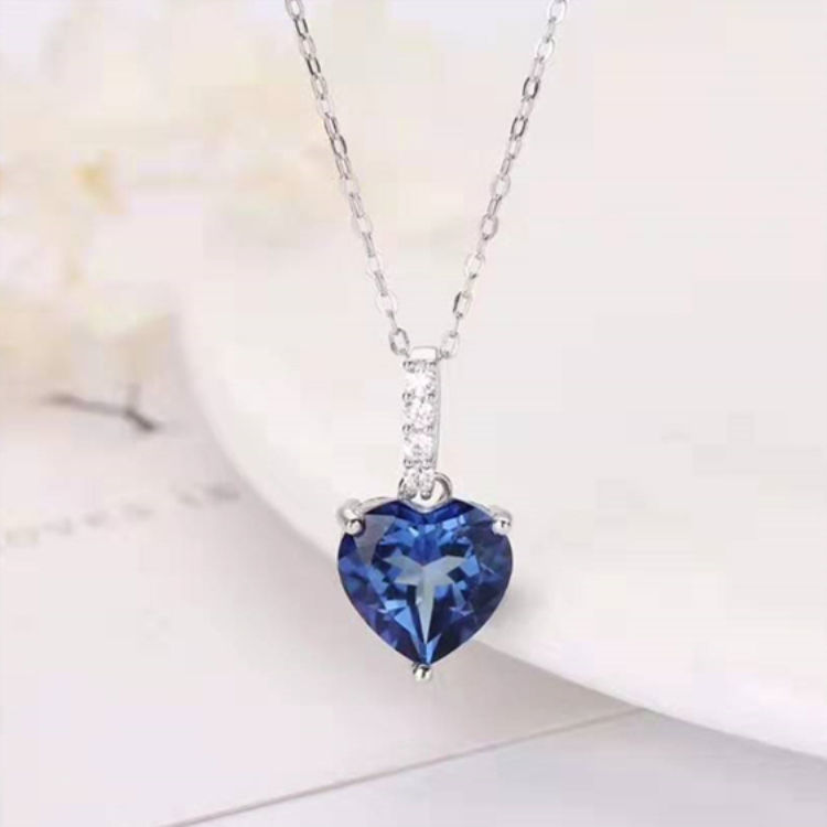 Hot Selling 925 Sterling Silver Jewelry Wholesale 10mm Heart Shape Natural Topaz Pendant Necklace