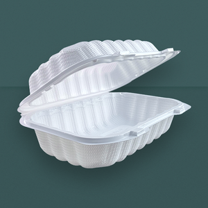 Portable plastic hamburger container food packaging box