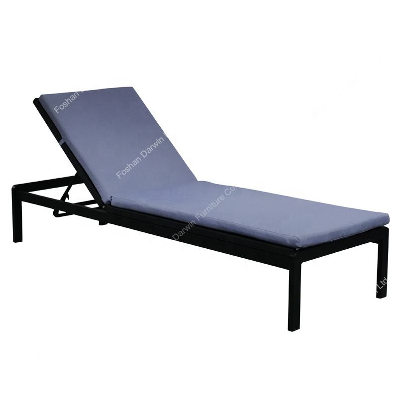 Leisure powder coated aluminum sling mesh fabric outdoor garden sun lounger with cushions made in China