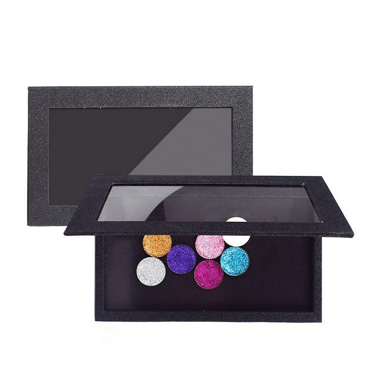 custom glitter empty magnetic eyeshadow palette box with private label for cosmetics makeup packaging
