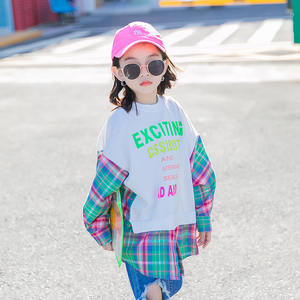 2020 Teenager Girl Letter White Printed Plaid Patchwork Long Sleeve Sweatshirt for 4-12 years