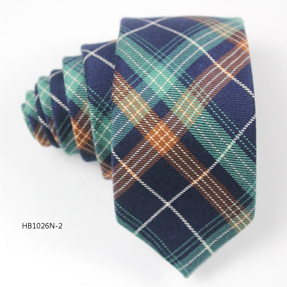 China wholesale handmade scottish plaid slim narrow tie necktie cotton for men