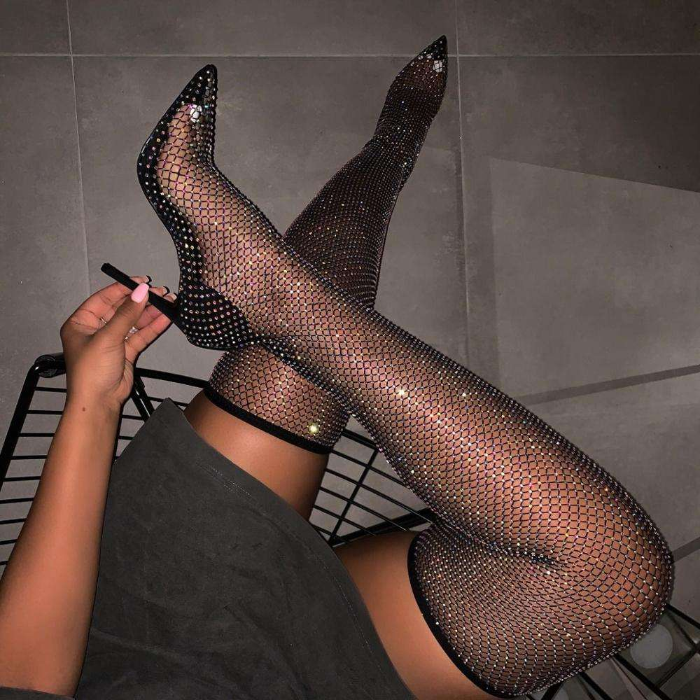 Latest arrival sexy ladies fashion black diamante fishnet thigh tight heels pointed toe high heel over knee boots elastic shoes