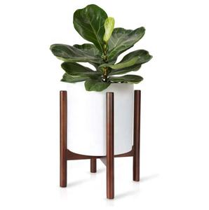 Modern Dark Brown Plant Stand Adjustable Flower Pot Stands Indoor Outdoor Wood Potted Plant Holder