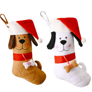 New Year Gift Bags Funny Pet Christmas Stocking Hot Dog socks for Xmas Tree Hanging Ornaments