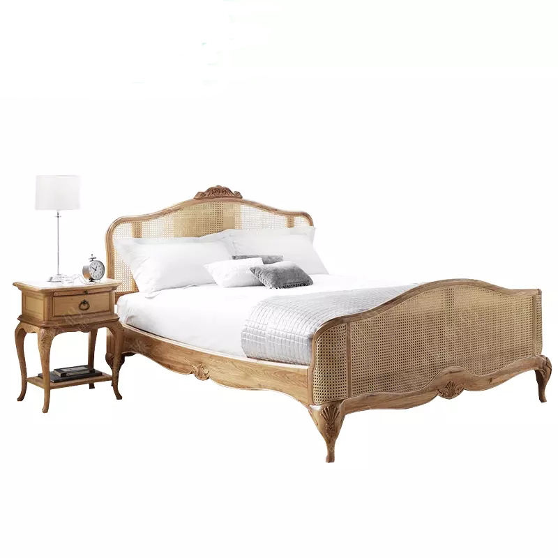 American high-end fashion bedroom solid wood red oak rattan carving antique fashion double bed custom furniture